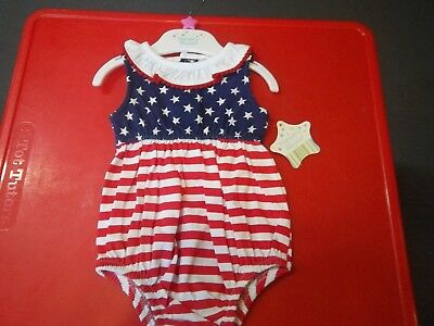 NWT Girl's Size 6 Months Nursery Rhyme Red, White, and Blue Romper