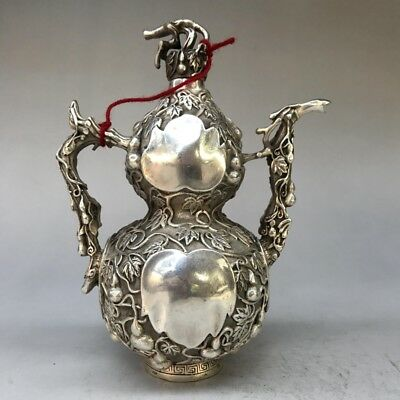 Chinese Ancient Tibet Silver Pot Hand-Carved Gourd Shape Design