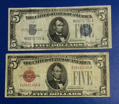 1934A $5 Blue SILVER Certificate X731 Choice FINE & 1928B $5 RED US Tender