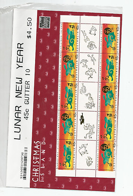 Mint 1999 Xmas Island Lunar Year Of Rabbit Pictured Gutter Block Of 10 Muh