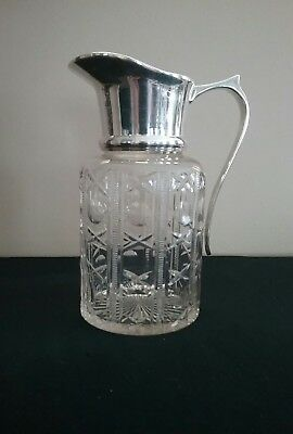 Elegant Cut Glass Pitcher w/Silver Plated Handle and Spout