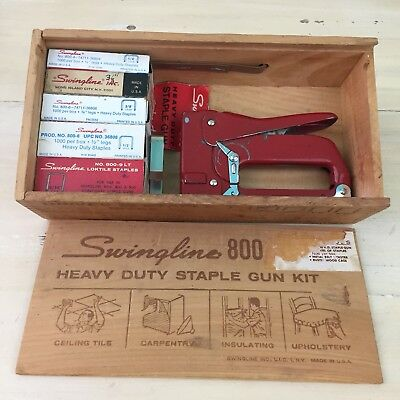 SWINGLINE 800 - Vtg HEAVY DUTY STAPLE GUN KIT, Wood Box, 5 Sizes - MUST SEE!