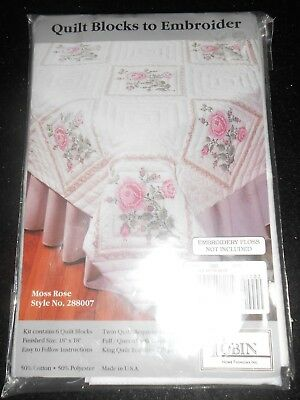 Tobin Made U.s.a. Quilt Blocks To Embroider Moss Rose Style No. 288007 6 Per/pac