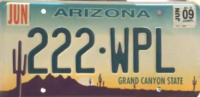"USA Number Licence Plate ARIZONA ""GRAND CANYON STATE""  EMBOSSED"