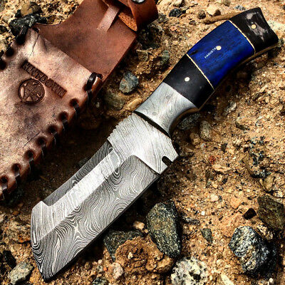 "9"" Damascus Blade Hunting Knife Blue & Black Horn Handle with Leather Sheath"