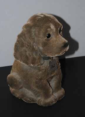 "VNTG ca.1960s-70s FLOCKED ""PAL"" DOG PUPPY FIGURINE BANK CONT BANK S LK CTY UTAH"