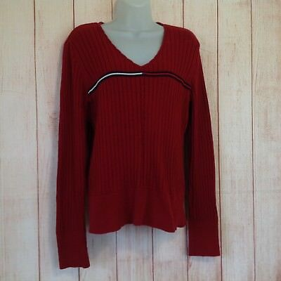 Vintage 90s Tommy Hilfiger V-Neck Ribbed Knit Thin Cropped Sweater Ladies L