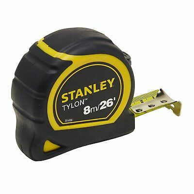 Stanley STA130656N Pocket Tylon Tape, 8 m/26 feet 25 mm - Yellow and Black