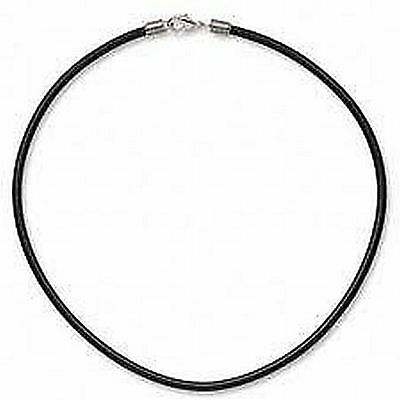 2mm Black Rubber Necklace, Band, 925 Sterling Silver Clasp, Ends, 18 Inch, 45cm