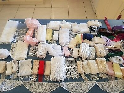 Hugh Bulk Lot  Vintage Lace Plus Zippers &  Ribbon