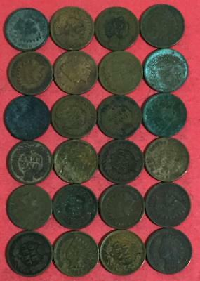1800s-1900s US Indian Head Cents Set of 24 Assorted Rough Indians! Old US Coins!