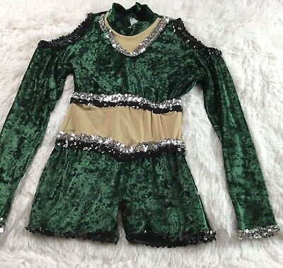 Girls Dance Romper Dress Sz Small 8/10 Green Sequins Cold Shoulder Sparkle *Read