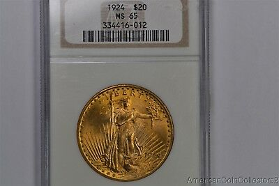 1924 Saint GAUDENS $20 DOUBLE EAGLE GOLD Coin NGC MS 65 1 oz GOLD NR  | 0921