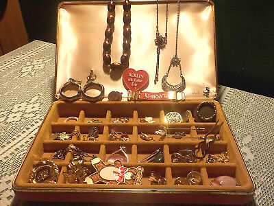 Vintage 50+ Mixed Lot of Jewelry Pins, Charms, Necklaces, Keepsake Mele Box