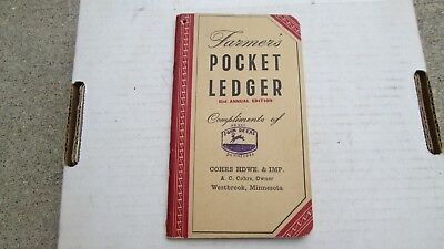 1947-1948 John Deere Pocket Ledger Cohrs Hardware/Impl. Westbrook Minnesota