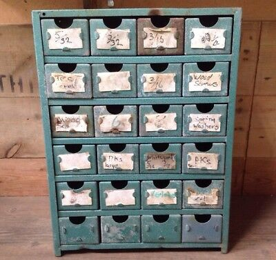 Vintage INDUSTRIAL Metal Chest Of DRAWERS