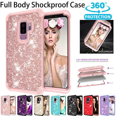 Samsung Galaxy Case S9 Plus Luxury Glitter Sparkle Bling Heavy Duty Hybrid Armor