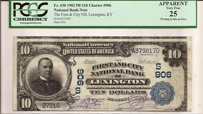 1902 $10 Plain Back - The First and City NB, Lexington, KY, Charter #906 - VF 25