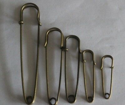 5 Pce Bronze Stainless Steel Durable Safety Pins  Stitches/Kilts/Scarfs/Ect