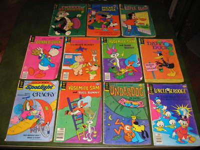 Lot of 11 Gold Key Comic Books 1970's Underdog Uncle Scrooge Tweety Donald Duck
