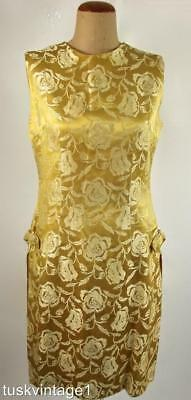 VINTAGE 60s Mid century GOLDEN brocade sleeveless box pleat side PENCIL DRESS 8
