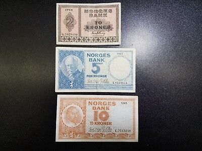 Lot of 3 Banknotes of NORWAY 2 5 10 Krone 1950 1961 1965  #45