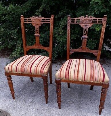 Beautiful Unusual Carved Antique Mahogany Chairs (Pair; Comfortable, Renovated)