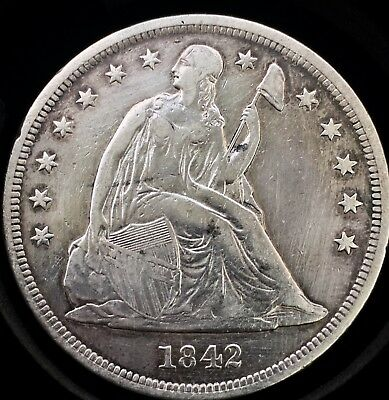 1842 $1 Liberty Seated Dollar.  Key Date.  Only 184600 Minted.