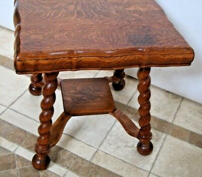 Gorgeous Antique Tiger Oak Thick Barley Twist Leg Pub Table  Fat Top Low shelf