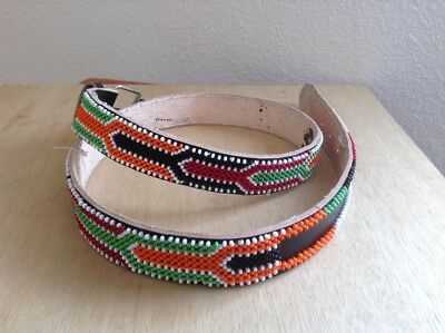African-Arena Maasai Masai Handcrafted Ethnic Tribal Beaded Leather Belt AA83