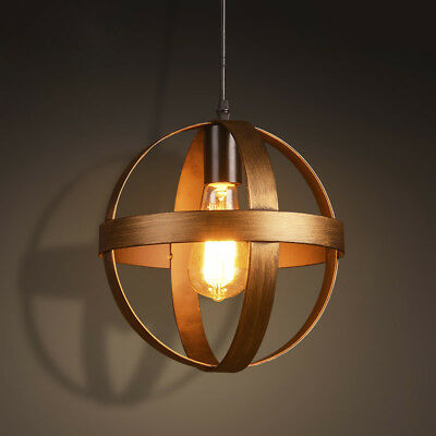 Vintage Industrial Aged Cage Pendant Light Globe Ceiling Lamp Brass Barn Fixture