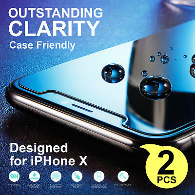2 X Anti Scratch Tempered Glass Screen Protector Film For Apple iPhone Xs X