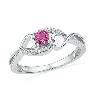 July Hot Pink Lab Created Sapphire Silver Ring #153