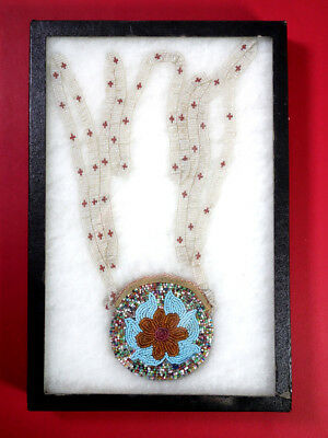 Hand Made Authentic Native American Seed Trade Beads Amulet Holder 19th Century