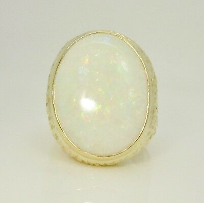18ct (750, 18K) Yellow Gold Extra Large Men's Natural 9.5ct White Opal Ring