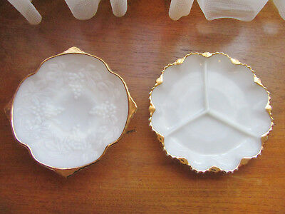 2 X VINTAGE ANCHOR HOCKING WHITE MILK GLASS PLATES w GOLD TRIM – FRUIT BOWL & NI