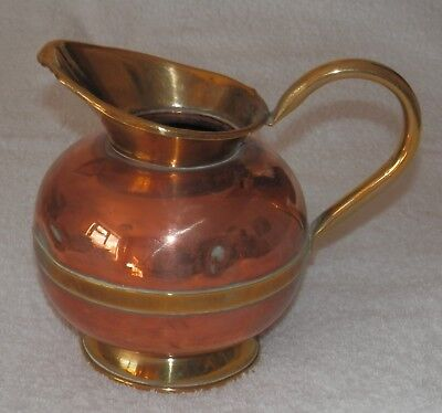 Vintage Antique Brass and Copper Banded Hot Water Jug