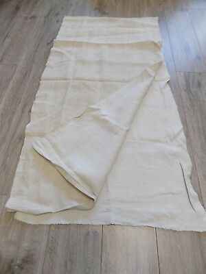Antique homespun Linen Fabric 1890s White/light Beige 2,5x0,6m Great condition