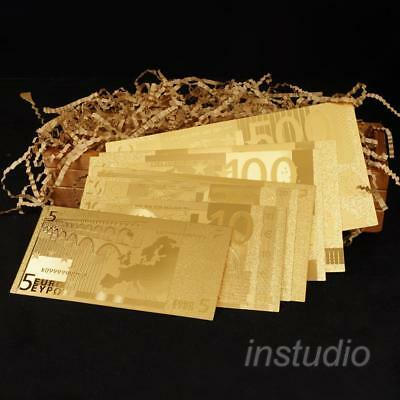 1Set Euro Paper Money Commemorative Gold Banknote Paper Money Gift Collectible
