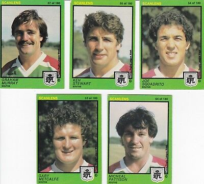 c1982 Scanles SOUTHS RUGBY LEAGUE FOOTBALL CARD Lot