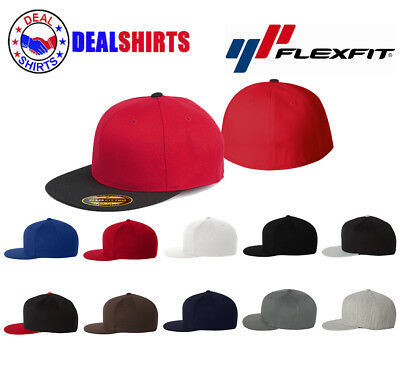 0a082245618 Original FLEXFIT 210 NEW Premium Flatbill Blank Fitted Flat Bill Cap Hat  -6210FF