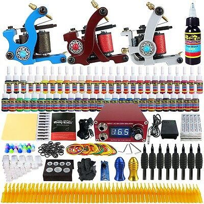 Professional Tattoo Kit 3 Pro Machine Guns Ink Set Power Supply