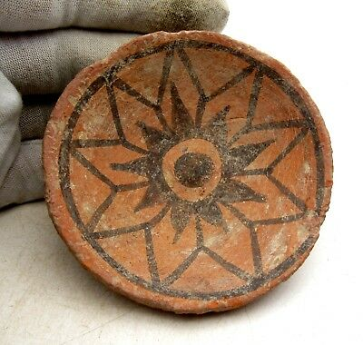 Indus Valley Terracotta Bowl W/ Geometric Motif - Rare Artifact Lovely - L611