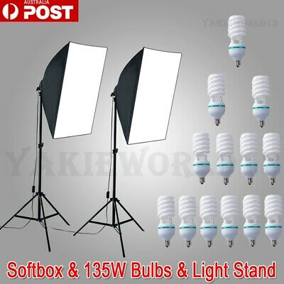 135W Bulb Photography Studio Softbox Continuous Lighting Soft Box Light Stand AU