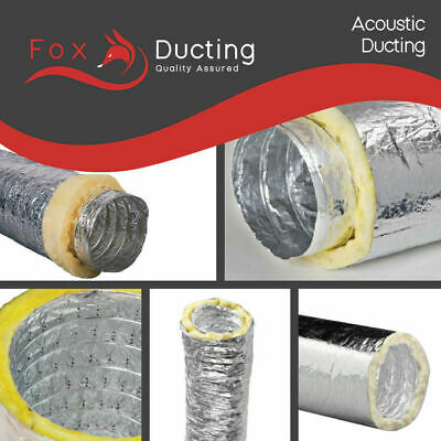 """Hydroponics Insulated / Acoustic LOW NOISE Ventilation Ducting 200mm / 8"""" x 10m"""
