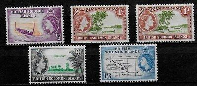 British Solomon Islands 1956 to 1963 QEII Pictorial Issues  - MH