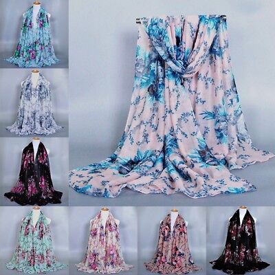 Fashion Women Ladies Voile Flower Scarf Soft Wrap Long Shawl Scarves Gift