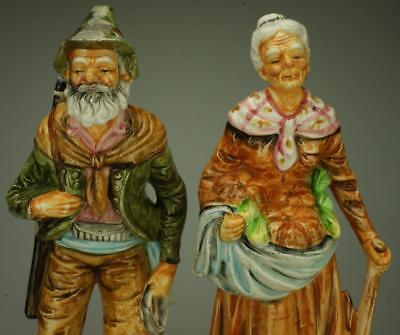 Pair of Ceramic Peasant or Farmer Figurines Made in Japan KC323