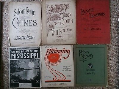 Job lot of 6 x appx 100 yr old pieces of vintage piano sheet music