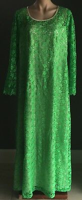 VINTAGE Original 1970's Tailor made Green Lace A-Line Maxi Dress Plus Size 18-20